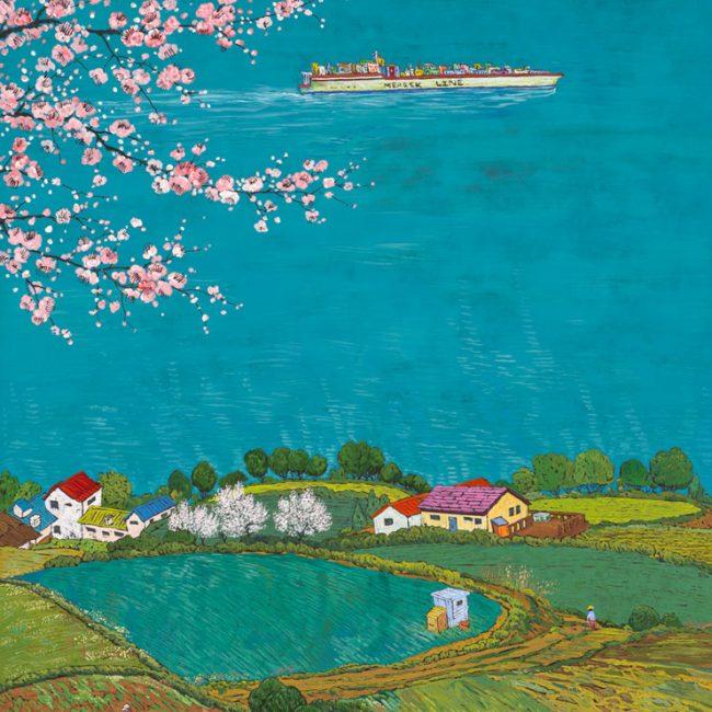 꽃풍경-남해 1, 98x70cm, 한지 위에 채색, 2016