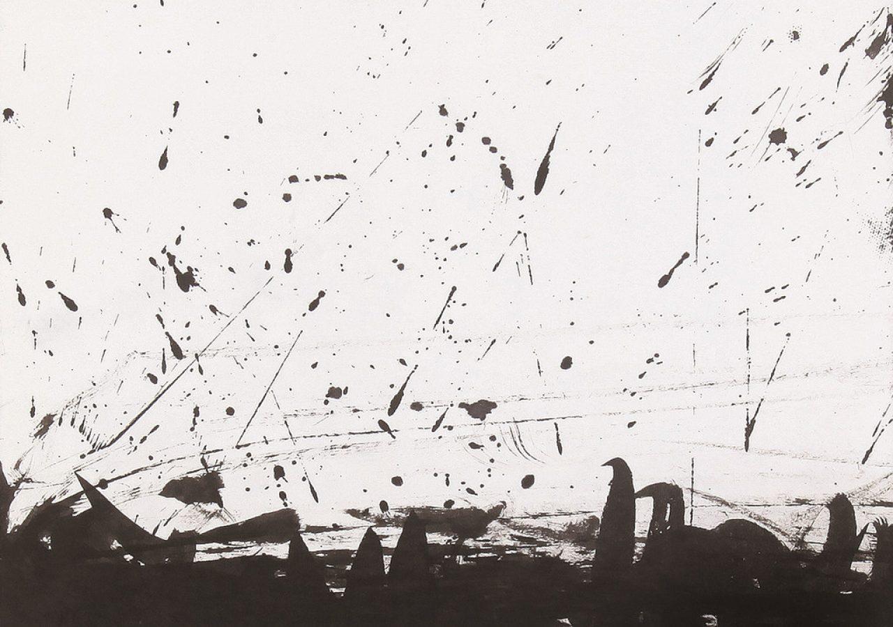 바람이 일다 1, 46x53cm, 한지에 수묵, 2014