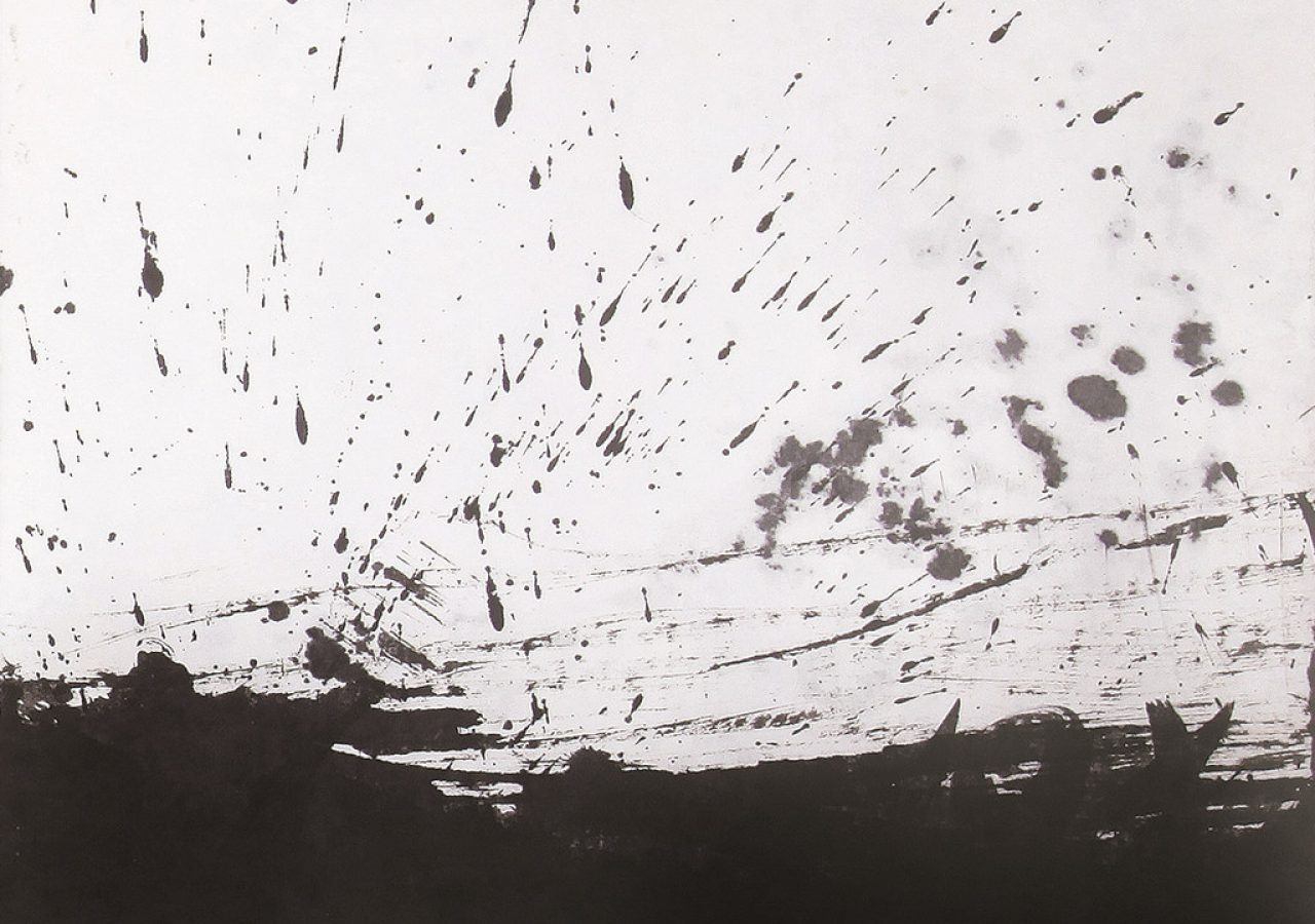 바람이 일다 2, 46x53cm, 한지에 수묵, 2014