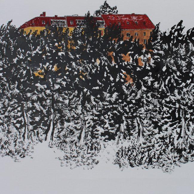 베를린 드로잉,45x35cm, 캔버스에 수묵, 2015.