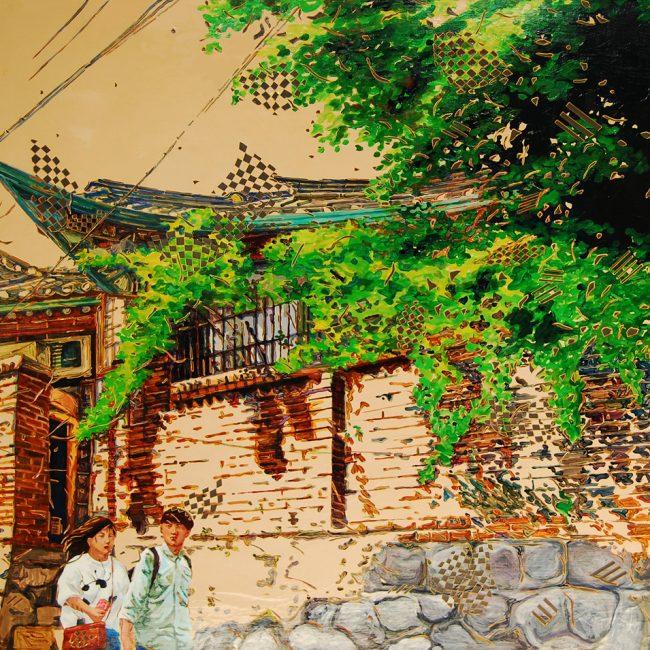 북촌 A WAlk in Bukchon산책120x120cm, Acrylic on canvas, Vynil sheet cutting, 2014
