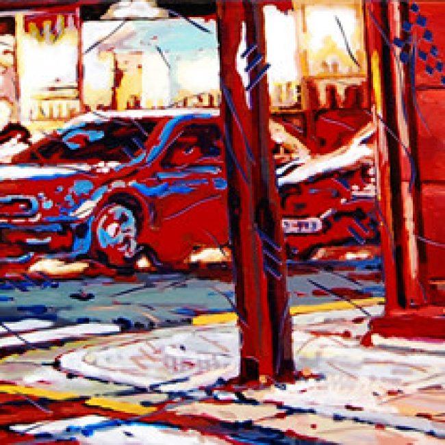 붉은 거리(삼청동)The Red street 130x30cm, 아크릴과 시트지 컷팅 2013