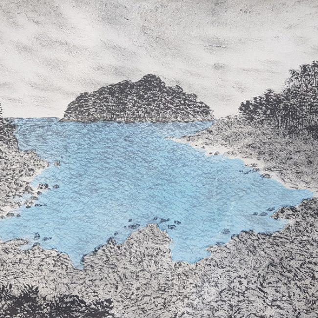 산수유람-섶섬을 품다 31x52cm 한지에 수묵채색 2016