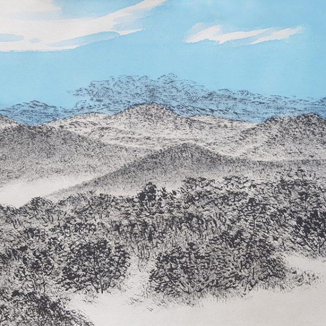 산수유람-올라보다1 31x52cm 한지에 수묵채색 2016