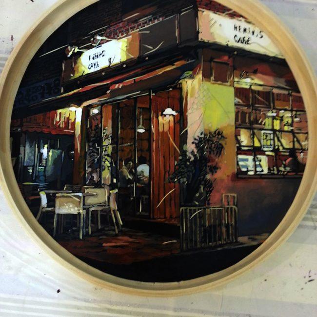 삼청동 까페A Cafe of Samchung-dong 지름 35cm Acrylic on panel, Vynil sheet cutting, 2015