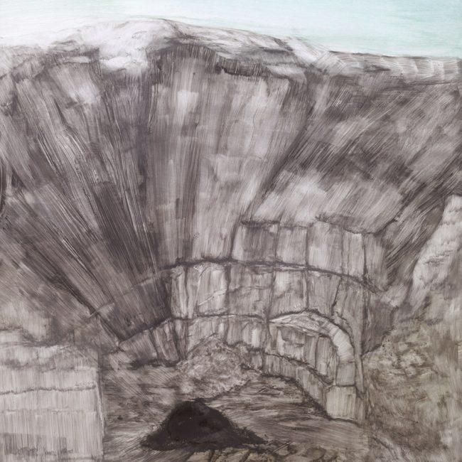 채석장, 96.5x 76.5cm, 땅 사진, 화학약품, 2015