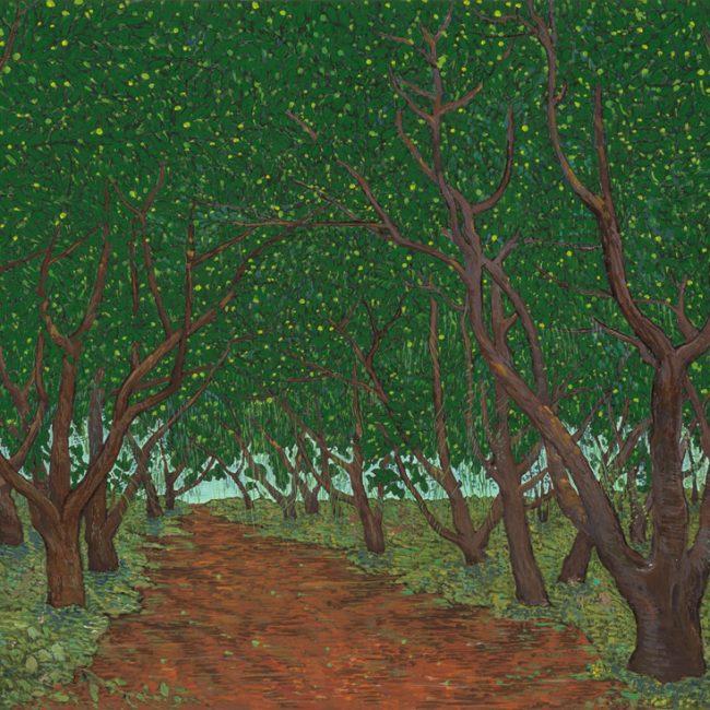 탱자나무 숲, 65x91cm, 한지 위에 채색, 2016