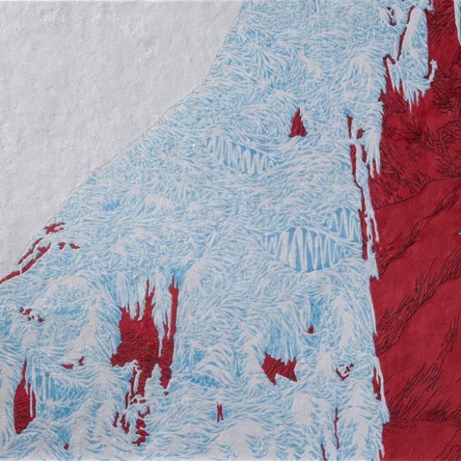 2.유갑규, 빙폭타다(climbing icefall), 78x48cm, 장지에 채색, 2015년