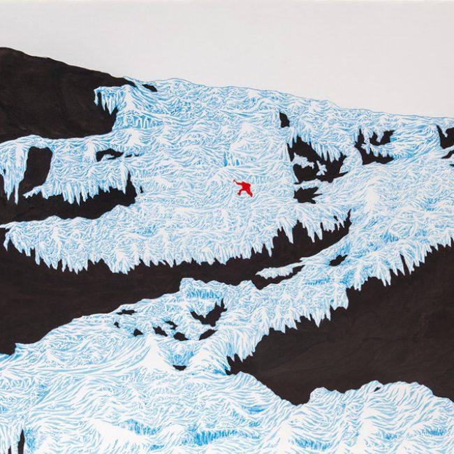 3.유갑규, 빙폭타다(climbing icefall), 78x48cm,테라지에 채색, 2015년
